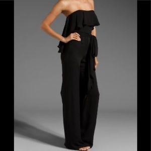 Black silk chiffon strapless jumpsuit